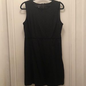Black Shift Dress with Velvet Dots